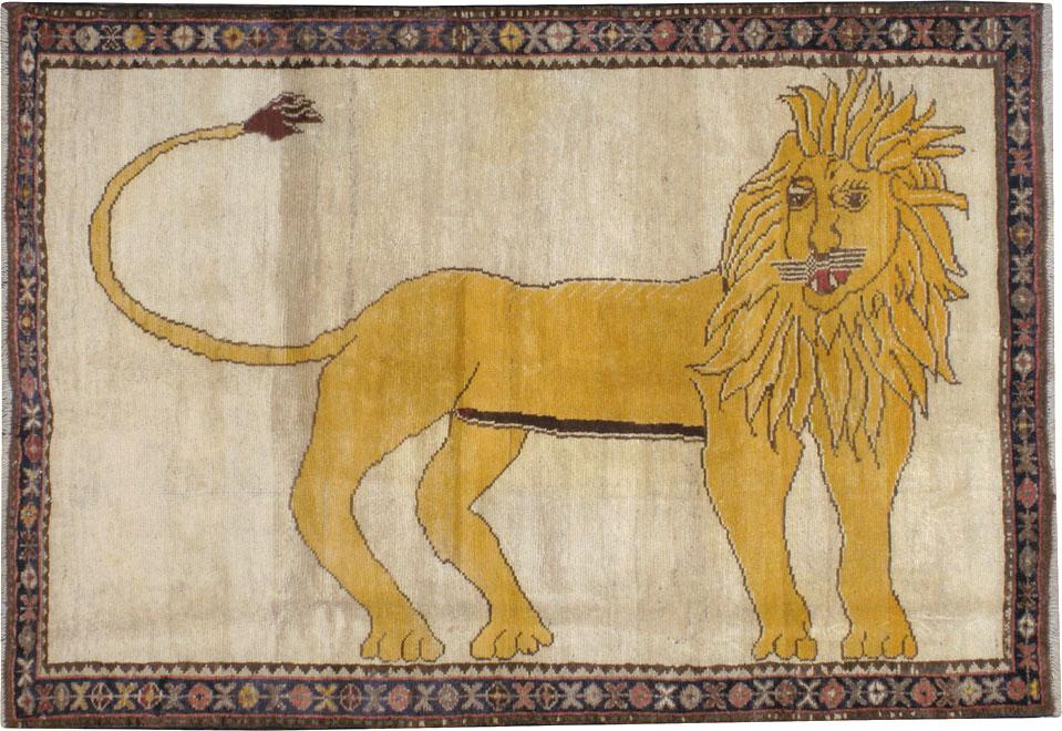 Vintage Persian Gabbeh Pictorial Rug No 12218