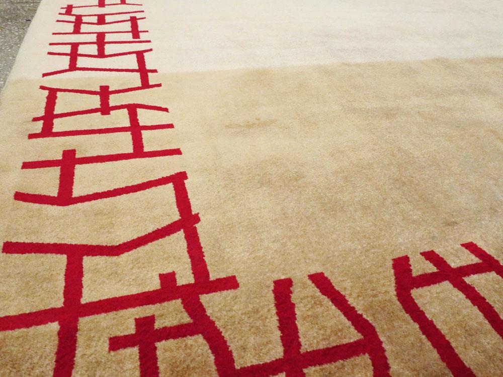 Vintage Persian Amoghli Mashad Modernist Carpet, No.14536 - Galerie Shabab