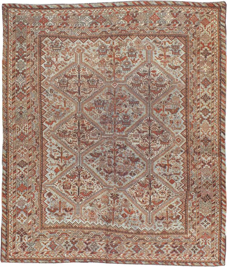 Antique Persian Shiraz Square Rug, No.20706 - Galerie Shabab