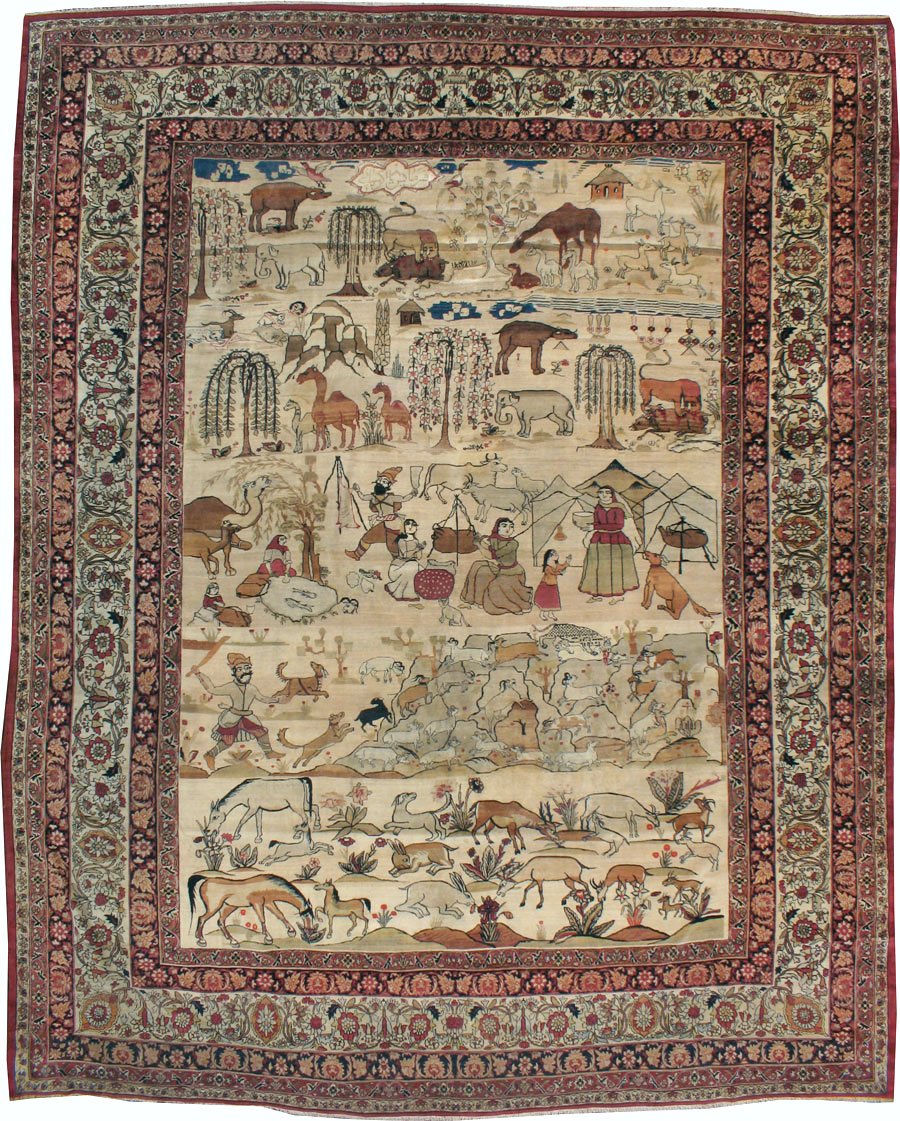 Antique Persian Lavar Kerman Pictorial Carpet, No.21439 - Galerie Shabab