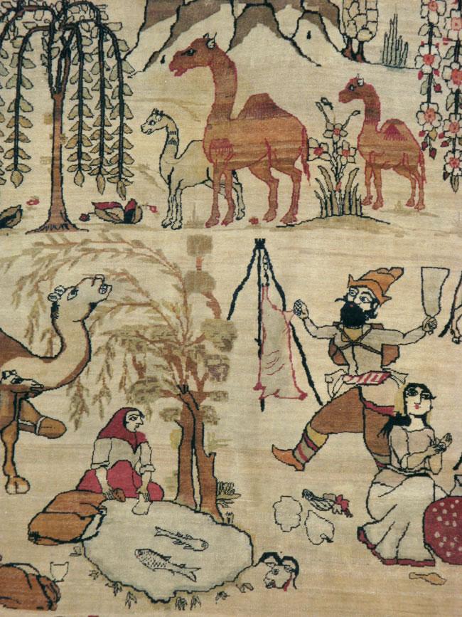 Antique Persian Lavar Kerman Pictorial Carpet, No.21439 - Galerie Shabab