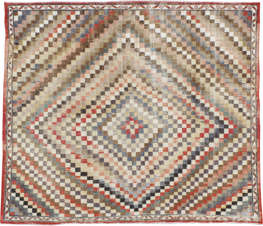 Vintage Turkish Anatolian Square Carpet, No.22374 - Galerie Shabab