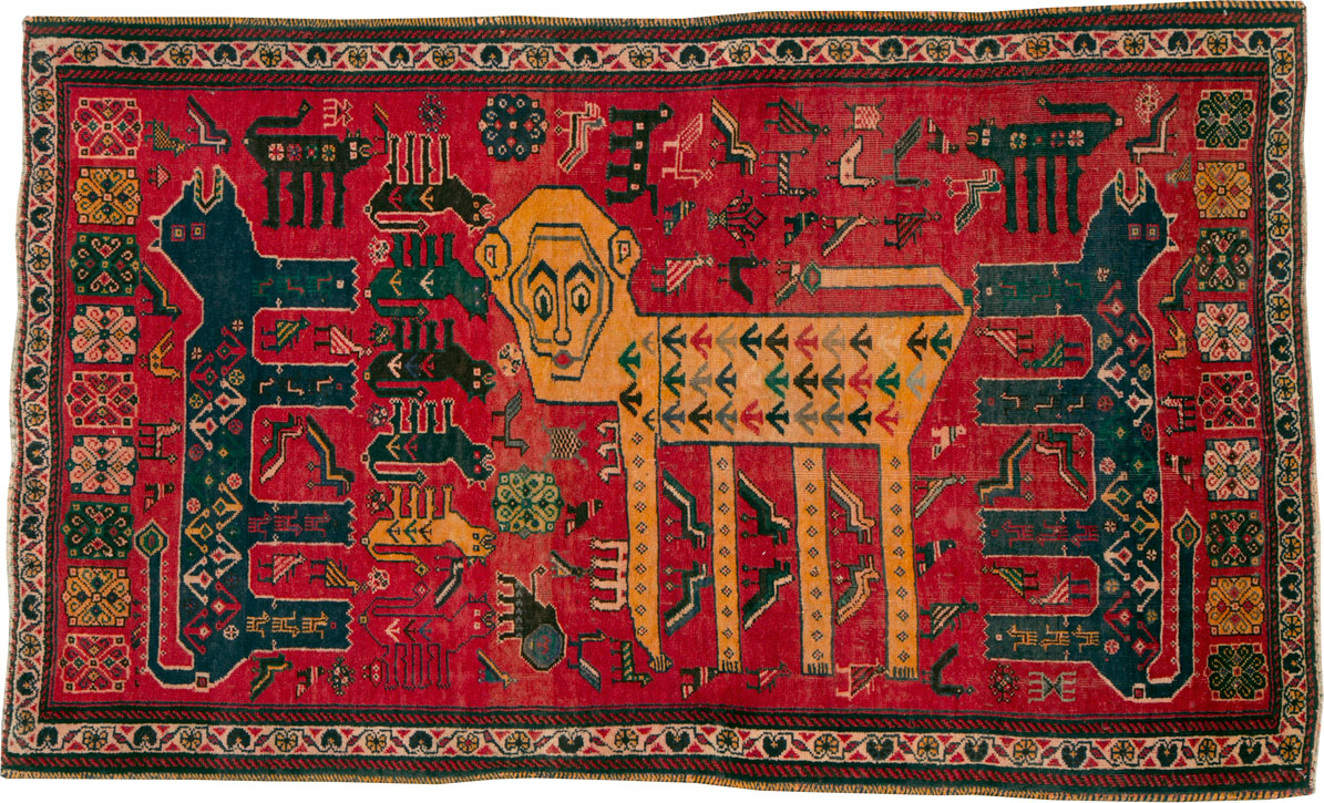 Vintage Persian Pictorial Afshar Accent Rug, No.25541 - Galerie Shabab