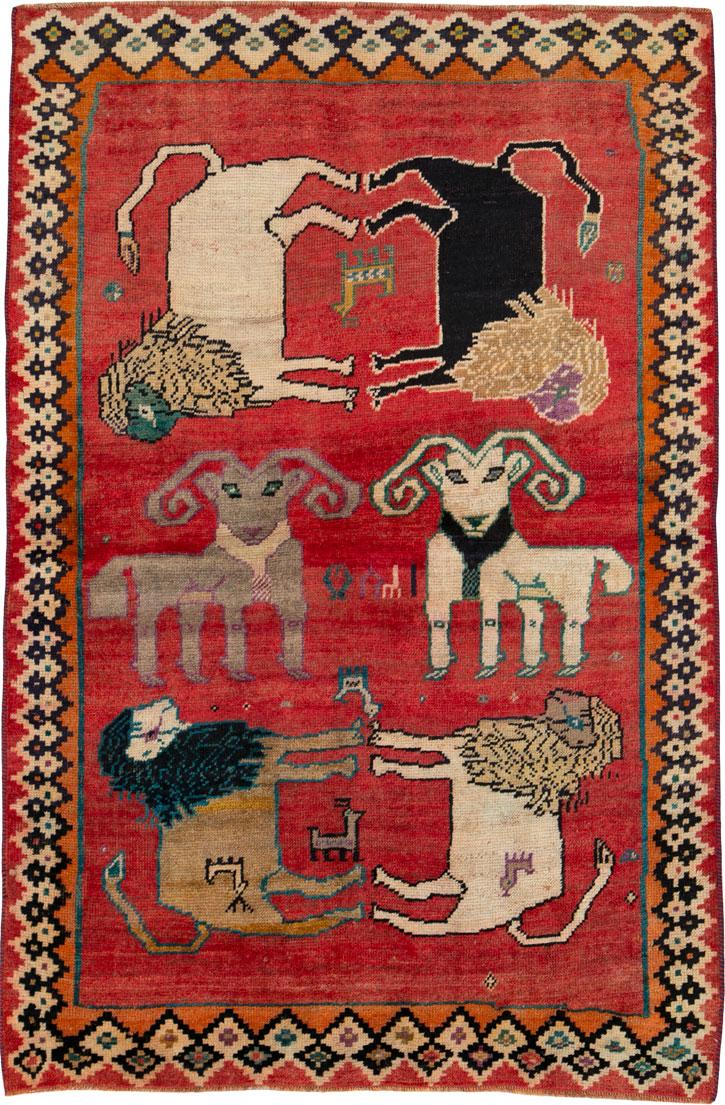 Vintage Gabbeh Pictorial Rug, No.25695 - Galerie Shabab