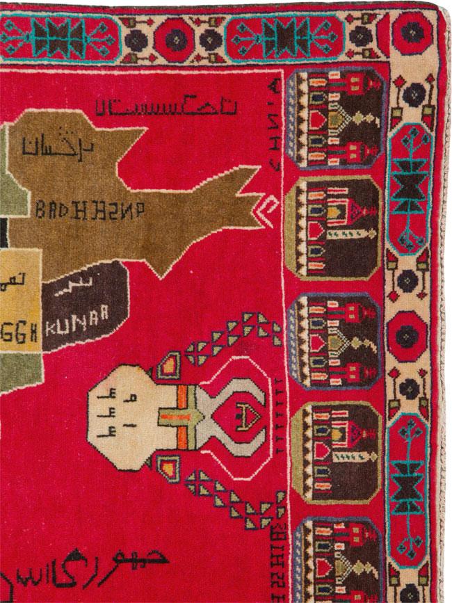 Vintage Map Rug, No.25886 - Galerie Shabab