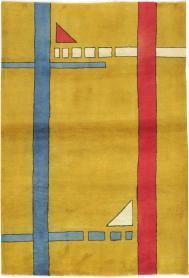 Vintage Persian Deco Carpet, No. 19178 - Galerie Shabab