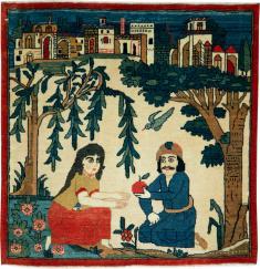 Vintage Kashan Pictorial Rug, No. 20026 - Galerie Shabab