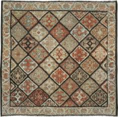 Antique Kurdish Sqaure Rug, No. 24249 - Galerie Shabab