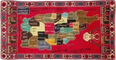 Vintage Map Rug, No. 25886 - Galerie Shabab